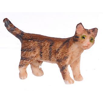 Nuket Talo Ruskea Kissanpentu Seisoo kääntymässä oikealle Miniatyyri Lemmikkikissa 1:12