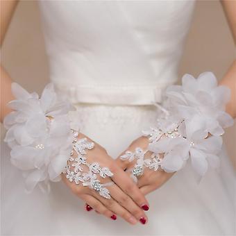 Evening Prom Accessories Gloves, Short Design, Flower Decoration Wedding Bridal