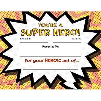 Super Hero Certificate, Pack Of 24