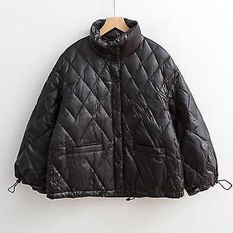 Kaczka puchowa kurtka kobiety, krótki Outwear Luźny Płaszcz Casual, Ultra Lekki ponad rozmiar