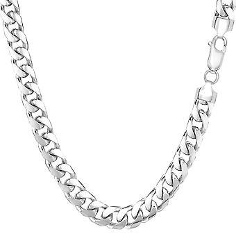 "14k White Solid Gold Miami Cuban Link Chain Mens Bracelet, 5.7mm, 8.5"""