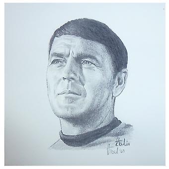 Robert Tomlin Star Trek Scotty Portrait 12 X 12cm Print By Robert Tomlin