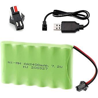 Baterie reîncărcabilă 7.2v 2400mah ni-mh aa cu mufă sm-2p 2pin și cablu încărcător USB pentru vehiculele de camioane RC