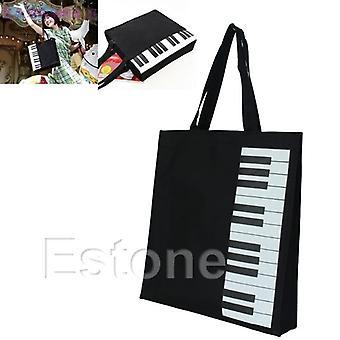 Hot Fashion Black Piano Keys Music Tote Bag
