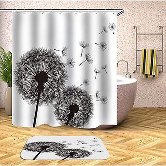 Groundsel Black And White Shower Curtain