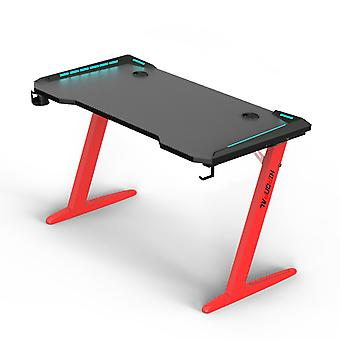 Gaming Desk With Led, Z-shape Computer Desk With Rich Feeling Color Light Workstation For Home Office