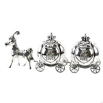 Silver plated cinderella carriage tooth & curl set