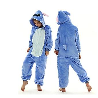 Stitch Kigurumi Kids Children Pajamas Winter Flannel Warm Sleepwear Boys Girls Animal Onesies Jumpsuits