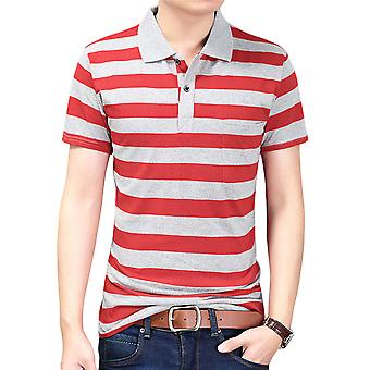 Yunyun Men's Vogue Classic-fit Cotton Soft Short-sleeved Striped Polo Shirt
