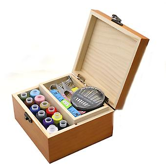 Wood Sewing Kit Hand Sewing Embroidery Tools Stitch Needle Thread Storage Kit