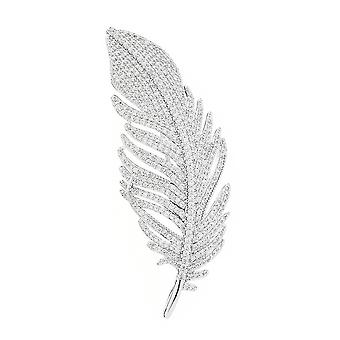Elegant Ladies Brooch Feather Corsage Zircon Brooch Pin