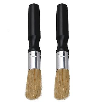 2 pcs Beech Black Handle Brushes with Bristle for Cafe Grinders Clean