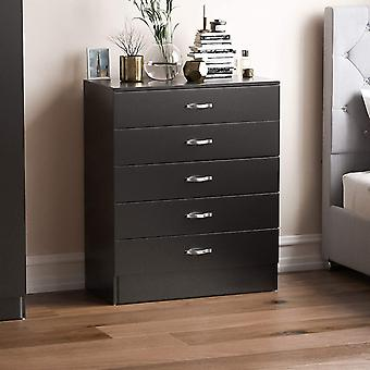 Gerui Black Chest of Drawers, 5 Drawer With Metal Handles and Runners, Unique Anti-Bowing Drawer