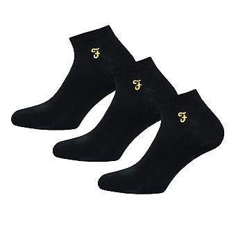 Men's Farah Sherrill 3 Pack Socks in Black