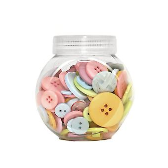 LAST FEW - 120g Mixed Size and Shade Button Tubs for Crafts - Pastels