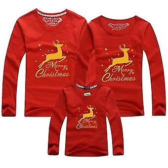 Kerst T-shirt, Lange Mouw Volwassen Kids T-shirt