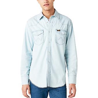 Wrangler Mens Workshirt Long Sleeve Button Front Denim Shirt - Dusty Shade