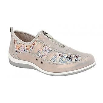 Boulevard Lila Ladies Suede Zip Up Shoes Grey Floral