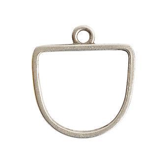 Final Sale - Nunn Design Open Pendant, Grande Half Oval 28.5x31.5mm, 1 Piece, Antiqued Silver
