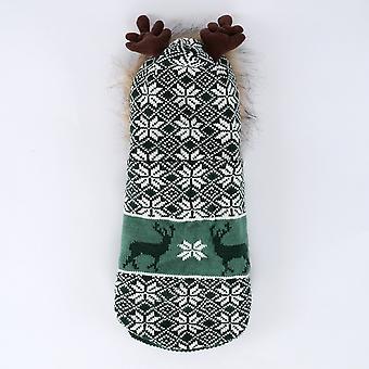 Koiran kissa vaatteet lämmin plus kashmir turkis kaulus joulu sarvi villapaita talvi