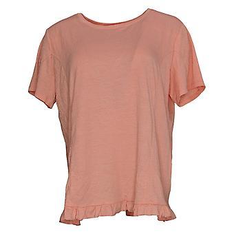 Enhver Kvinders Top Crinkle Strik T-shirt med flæse Hem Pink A353784