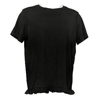أي شخص المرأة الأعلى كرينكل Knit تي شيرت مع كشكشة هيم الأسود A353784
