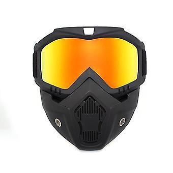 取り外し可能なフェイスマスクdt4842とオレンジバイクヘルメット
