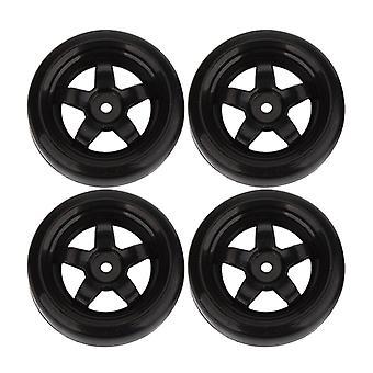 ل4pcs البلاستيك الأسود الانجراف الإطارات مع 5 تكلم عجلة ريم لRC 1:10 الانجراف سيارة 65mm OD WS5472