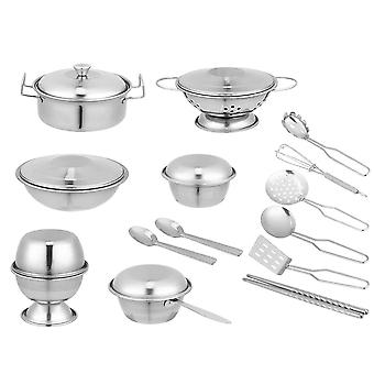 20pcs Stainless Steel Kitchen Toys Play House Toy Simulation Cooking Toy Educational Plaything For Children Kids Toddlers