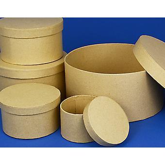 8.5cm Rond High Paper Mache Box avec couvercle à décorer | Boîtes Papier Mache