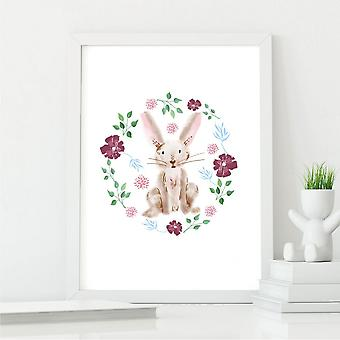 Floral Rabbit Wall Art Print   Gift for Friends & Family   A4 with White Frame