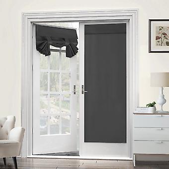 2X franska dörrgardiner termisk isolerad dörrpanel sekretessdörr skugga tricia gardin för dörrfönster gardiner, mörkgrå