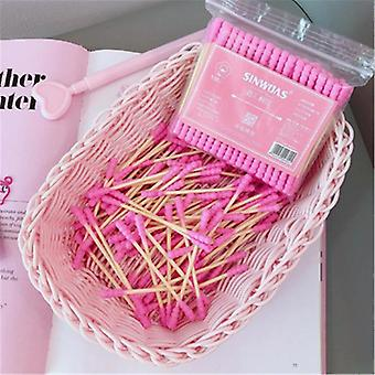 100 шт / упаковка Розовые двойные головки ватные палочки для тампонов