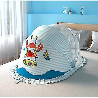 Foldable Baby Mosquito Nets And Bottomless And Free Installation And Storage(Blue)