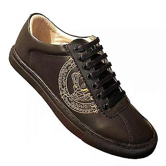 New Low-gang Printed Men's Shoes Korean Version Of Thick-bottomed Leather Shoes Casual Fashion Shoes