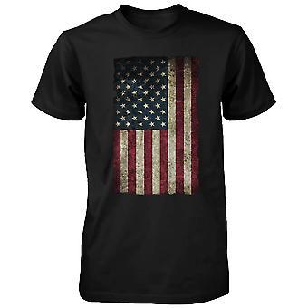 Amerikanska flaggan mäns T-shirt-juli 4th röd vit och blå Graphic Tee