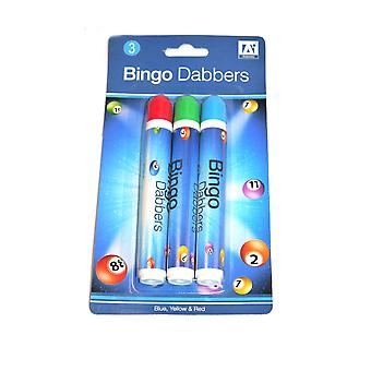 Pack of 3 Blue Green & Red Bingo Dabbers Marker Pen Markers