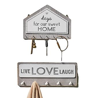 2pcs Set Modern Design Wooden Key Holder, Wall Mounted Entryway Organizer With 12 Key Hooks, Perfect Home Hanging Decor For Office