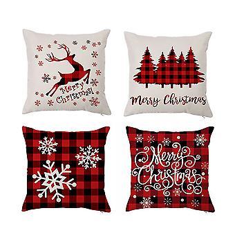 """סט של 4 נושא חג המולד בצבע בז 'דקורטיבי לזרוק כרית כרית כיסוי 18 x 18 אינץ '45 x 45 ס""""מ"""