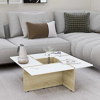 Chunhelife Couchtisch Weiß Und Sonoma Eiche 79,5x79,5x30 cm Spanplatte