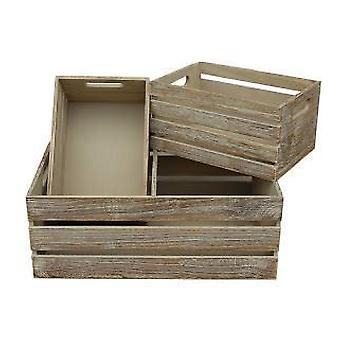 Set of 3 Oak Effect Wooden Open Top Storage