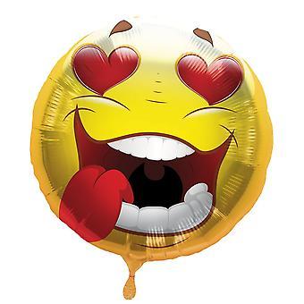 Folienballon Smiley mit Herzaugen Heliumballon 43 cm Ballon