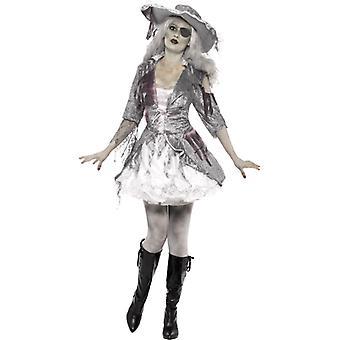 Kostuum vrouwen Ghost Ship piraat schat grijs met jurk en hoed vrouwen kostuum