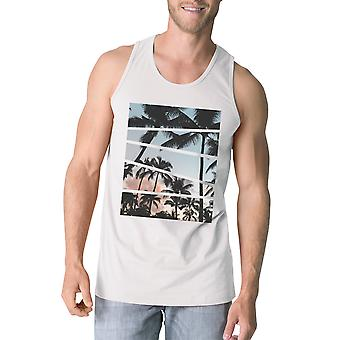 Palm Trees California Sunset Photography Mens Graphic Tanks Cotton