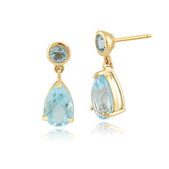 Classic Pear Blue Topaz Drop Earrings in 9ct Yellow Gold 25389