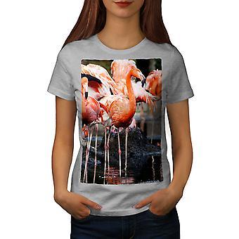 Flamingo Wild Bird Women GreyT-shirt | Wellcoda