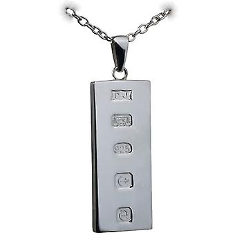 Silver 39x18mm solid display hallmark Ingot one ounce Pendant on a bail  with a cable Chain 24 inches