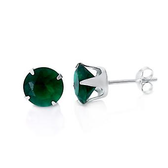 925 sterling silver Stud Earrings - rond / groen