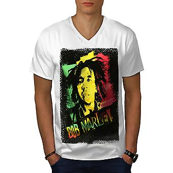 Marley Canabis Bob Men WhiteV-Neck T-shirt | Wellcoda