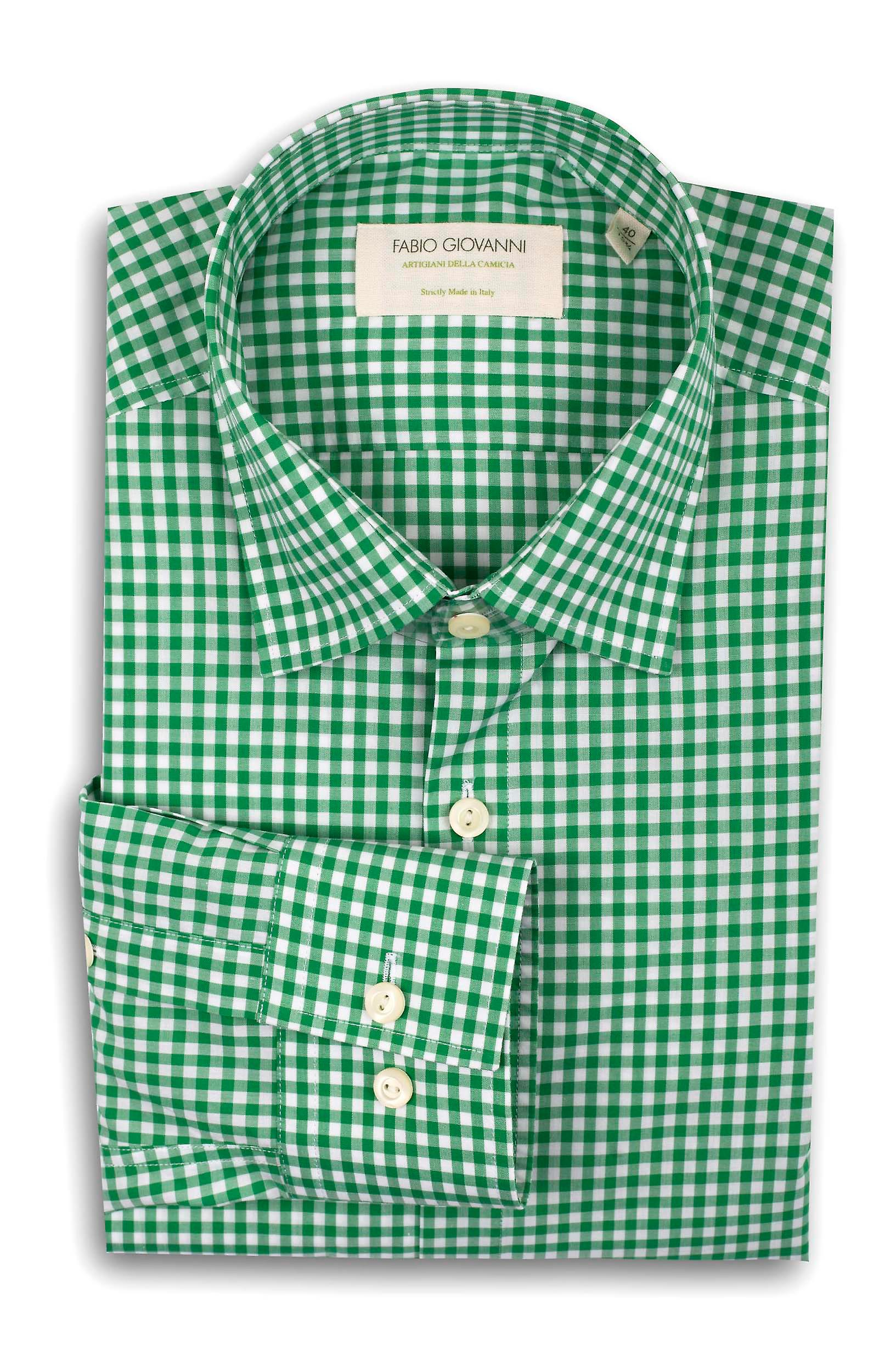 Fabio Giovanni Avellino Shirt - Italian Poplin Cotton Refined Green Gingham Check Shirt